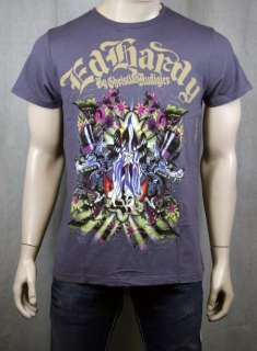 Ed Hardy Death Angel Lover T shirt Dark Gray NEW