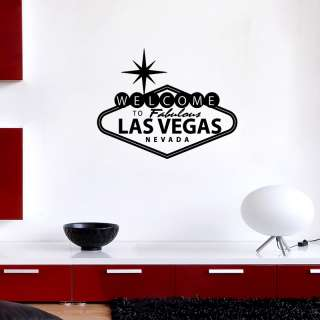 Wall Stickers Vinyl Decal poker Las Vegas sign 55x70cm