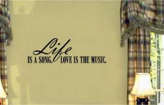 Life Song Love Music Vinyl Wall Letters Stickers Decal