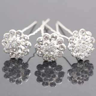 Crystal Bridal Flower Rhinestone Hair pins Clips 647