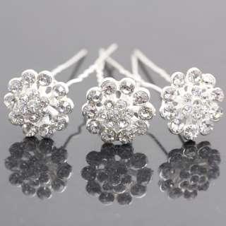 Crystal Bridal Flower Rhinestone Hair pins Clips 647