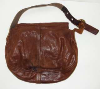 LUCKY BRAND JEANS BROWN LEATHER STASH FLAP HOBO BAG