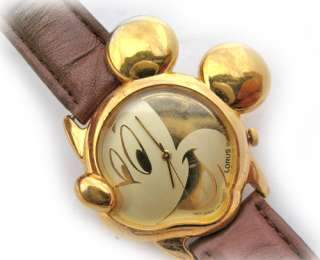 VINTAGE LORUS DISNEY MICKEY MOUSE 3D HEAD GOLD Tone Wristwatch WATCH