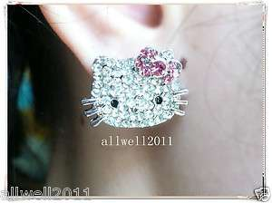 Hello Kitty Crystal Bling Earring Earbob Stud Pink Bow In GIFT BOX