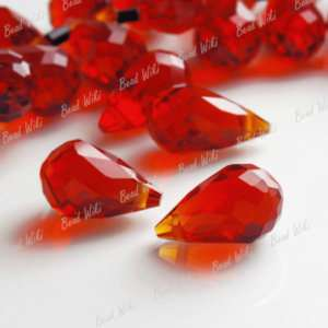 Red Faceted Cut Teardrop Crystal Glass Beads Drop Pendants CR0242
