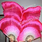BOTH HANDS PAIRS 1.5M BELLY DANCE PURE SILK BAMBOO FANS white pink