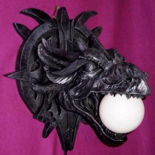 HEAD WALL LAMP/NIGHT LIGHT~GOTHIC~DRAGON~MEDIEVAL~GLOBE~ORB~NEW