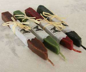 Sealing wax, natural with wick, RED BLACK GREEN BROWN