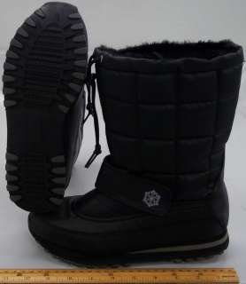 WOMENS THINSULATE NELLY WINTER BOOT BLACK SHERPA QUILTING VELCRO NWOB