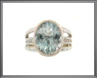 Ladies 14K Solid White Gold Aquamarine & Diamond Ring