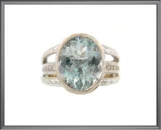 Ladies 14K Solid White Gold Aquamarine & Diamond Ring