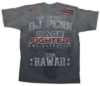 BJ PENN Cage Fighter Gray Authentic UFC T shirt MMA New