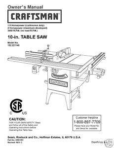 Craftsman Table Saw Manual Model # 152.221140