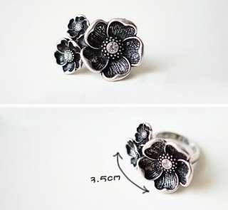 Elegant Retro Silver Style Marquise Large Rhinestone Adjustable Ring r
