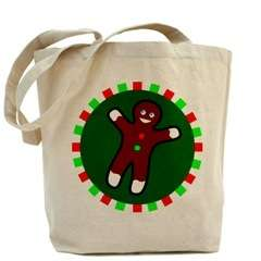 Gingerbread Man Boy Embroidere Canvas Tote Shoulder Bag