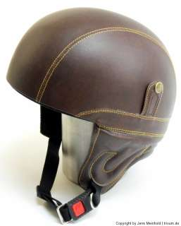 HELM MOTORRAD CUSTOM BIKE BRAINCAP CHOPPER OPEN FACE RETRO LEDER BRAUN
