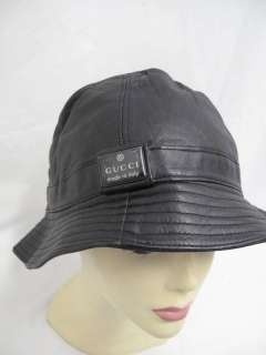 ... NWOT Gucci Black Leather Ribbed Brim Bucket Hat M ... ea2c60fc1598