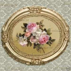 Floral Flowers Dollhouse Picture Victorian Oval Art