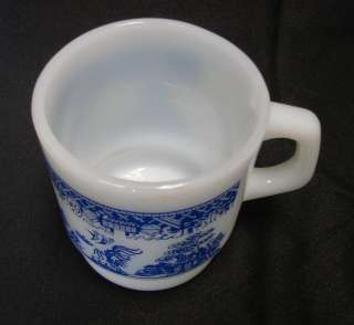 Hocking Fire King Milk White Glass Blue Willow Cup Mug USA |