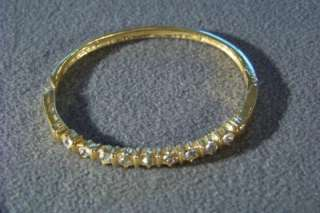 ANTIQUE YELLOW GOLD TONE ROUND RHINESTONE BANGLE FANCY BOLD BRACELET