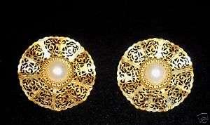 Vintage Gold tone Filigree Pearl Earrings ear rings BIG