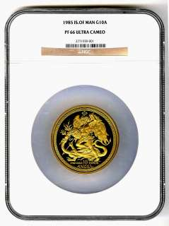1985 Isle Of Man 10 Oz Proof Gold ANGEL Mintage 68 NGC PF 66 ULTRA