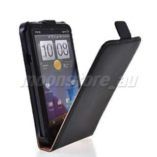 LEATHER FLIP POUCH CASE COVER + SCREEN FOR HTC EVO 3D BLACK