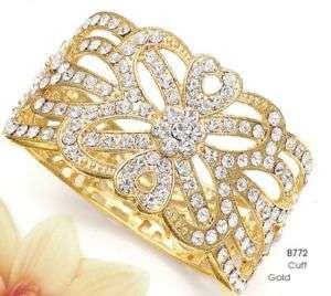 NWT NEW Mariell Crystal Gold Wedding Prom Cuff Bracelet