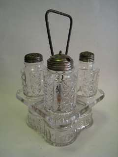 Antique EAPG Mold Blown Glass Condiment Set & Stand