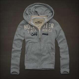 NWT Hollister Mens Muscle Fleece Hoodie L Large Sweatshirt Gray Top
