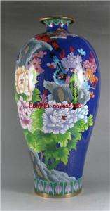 Chinese flower design Beautiful blue cloisonne vase 15