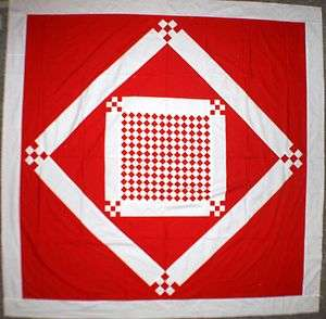 Checker board Red & White Diamond in Square QUILT TOP