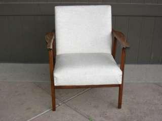 Vintage Danish Modern Walnut Chair Off White Vinyl Upholstery Mid