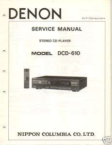 Original Denon Service Manual DCD 610 CD Player