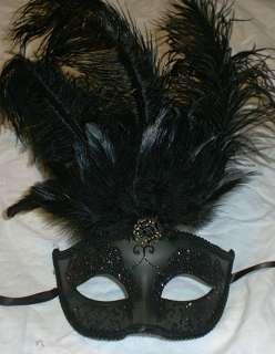 Black Gem Venetian Feather Mardi Gras Masquerade Mask 831687061516