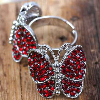 Choices Rhinestone Butterfly Adjustable S6.5 Ring 1P
