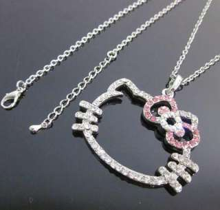 XL Hello Kitty pink bow crystal pendant necklace T15