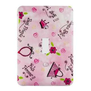 Amerelle Sassy Girl 1 Gang Pink Toggle Switch Wall Plate 1820T at The