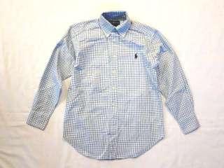 NWT Ralph Lauren Blake Oxford Tattersall Shirt Boys LG