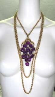 70s TRIFARI MULTI CHAIN STRAND RUNWAY STATEMENT NECKLACE Purple Lucite