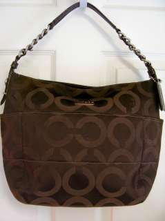 COACH POPPY POP TRIBECA BROWN OP ART C SATEEN CHAIN HOBO SHOULDER HAND