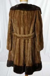 Glamour Mocha Chocolate Brown Swing Real Mink Fur Coat Jacket Large