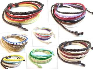 Color Braided Hemp Surfer Woven Leather Bracelet   Select Style