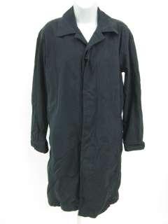 DKNY Black Knee Length Long Sleeve Rain Jacket Coat P