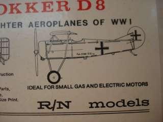 RN MODELS * S.E.5 and FOKKER D8 * F/F MODEL AIRPLANE KIT **