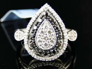 WOMENS UNIQUE BLACK/WHITE DIAMOND FASHION RING 1/2 CT