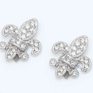 Fleur De Lis Crest Symbol Rhinestone Crystal Earrings VE625