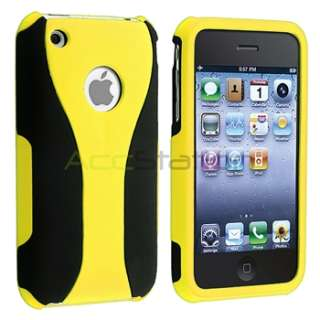 Yellow/Black 3 PIECE RUBBER HARD CASE COVER FOR APPLE IPHONE 3G 3GS 3