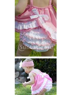 Kids Infant Baby Girl Bow Ruffle Top Dress + Pants Bloomers Nappy