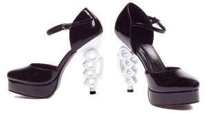 inch Black/Silver Brass Knuckle High Heel Look Strappy Pump